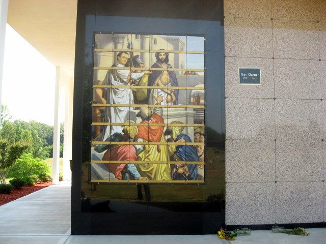 Cemetary Mausoleum Pictured Tile Murals JESUS being tried